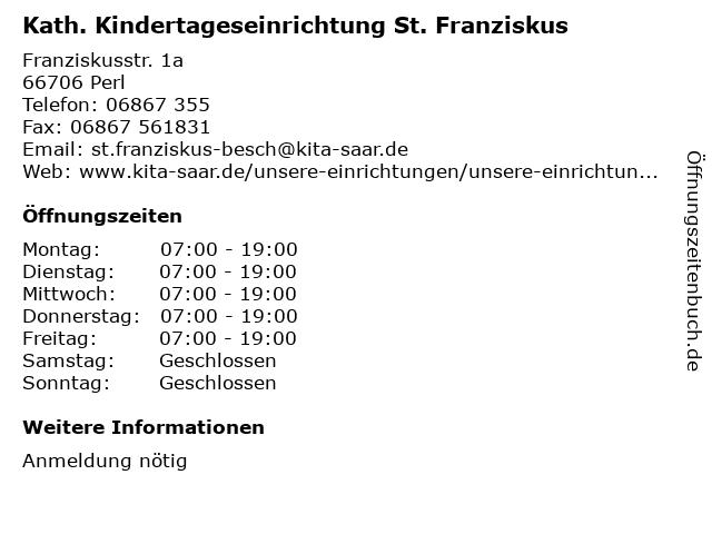 Kath. Kindertageseinrichtung St. Franziskus in Perl: Adresse und Öffnungszeiten