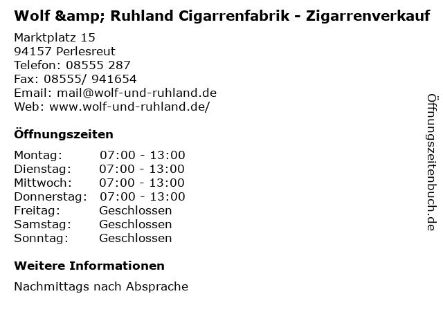 Wolf & Ruhland Cigarrenfabrik - Zigarrenverkauf in Perlesreut: Adresse und Öffnungszeiten