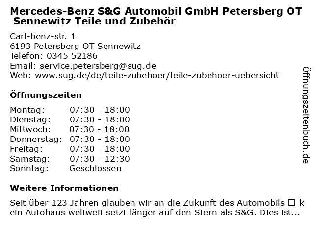 S&G Automobil GmbH - Collection / Teile & Zubehör in Petersberg Bei Halle: Adresse und Öffnungszeiten
