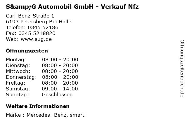 S&G Automobil GmbH - Verkauf Nfz in Petersberg Bei Halle: Adresse und Öffnungszeiten