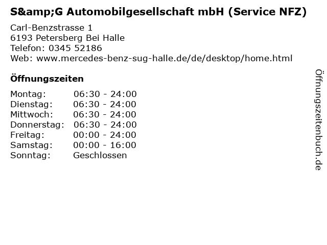 S&G Automobilgesellschaft mbH (Service NFZ) in Petersberg Bei Halle: Adresse und Öffnungszeiten
