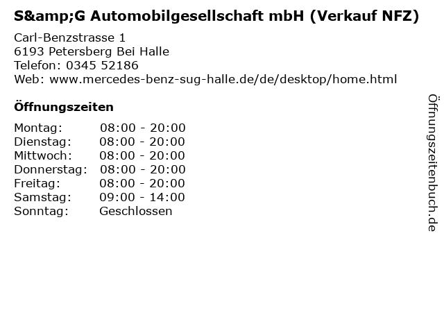 S&G Automobilgesellschaft mbH (Verkauf NFZ) in Petersberg Bei Halle: Adresse und Öffnungszeiten