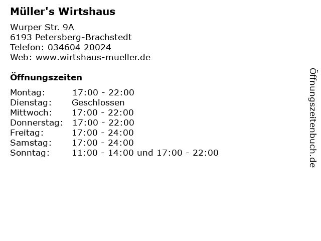 Müller's Wirtshaus in Petersberg-Brachstedt: Adresse und Öffnungszeiten