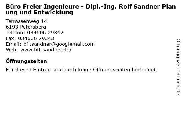 Büro Freier Ingenieure - Dipl.-Ing. Rolf Sandner Planung und Entwicklung in Petersberg: Adresse und Öffnungszeiten
