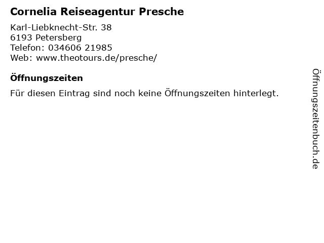 Cornelia Reiseagentur Presche in Petersberg: Adresse und Öffnungszeiten