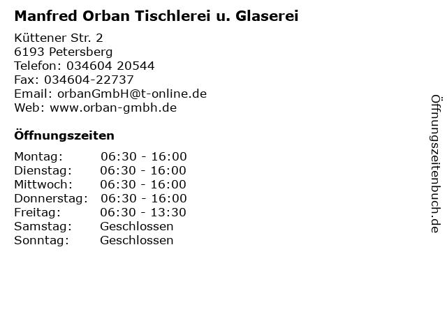 Manfred Orban Tischlerei u. Glaserei in Petersberg: Adresse und Öffnungszeiten