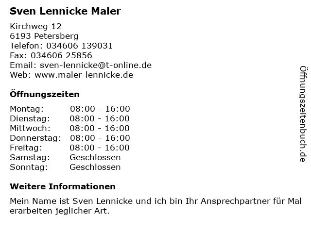 Sven Lennicke Maler in Petersberg: Adresse und Öffnungszeiten