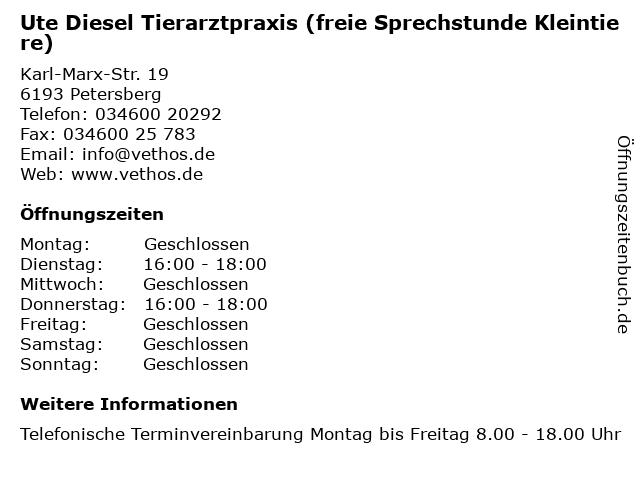Ute Diesel Tierarztpraxis (freie Sprechstunde Kleintiere) in Petersberg: Adresse und Öffnungszeiten