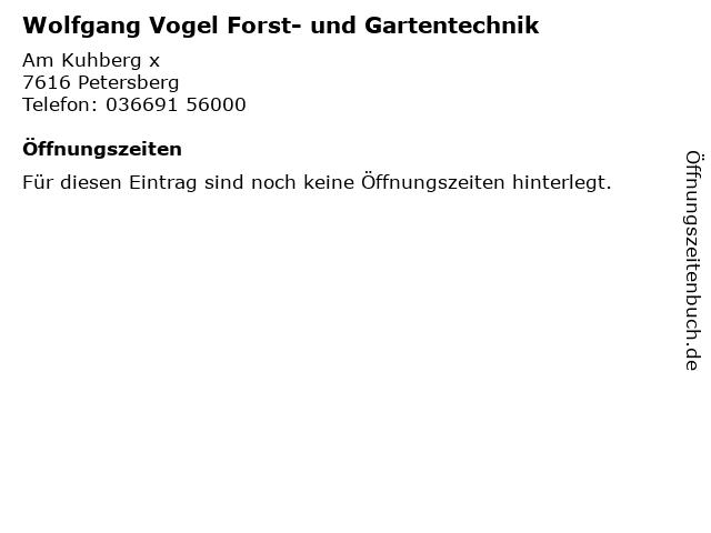 Wolfgang Vogel Forst- und Gartentechnik in Petersberg: Adresse und Öffnungszeiten