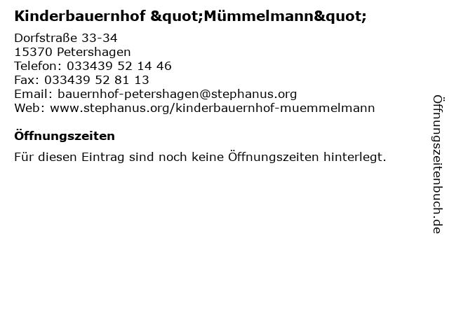 """Kinderbauernhof """"Mümmelmann"""" in Petershagen: Adresse und Öffnungszeiten"""