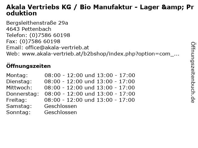 Akala Vertriebs KG / Bio Manufaktur - Lager & Produktion in Pettenbach: Adresse und Öffnungszeiten