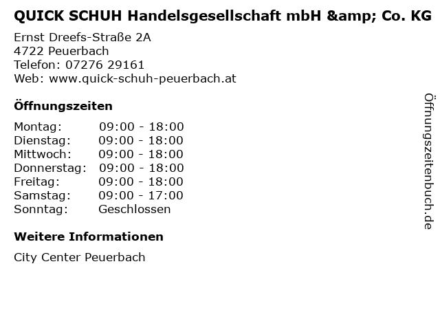 QUICK SCHUH Handelsgesellschaft mbH & Co. KG in Peuerbach: Adresse und Öffnungszeiten