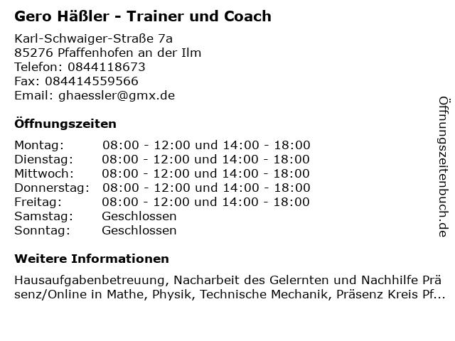 Gero Häßler - Trainer und Coach in Pfaffenhofen an der Ilm: Adresse und Öffnungszeiten