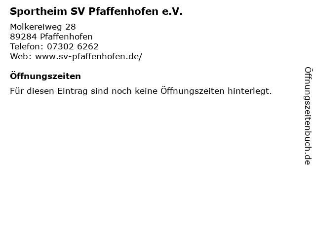 Sportheim SV Pfaffenhofen e.V. in Pfaffenhofen: Adresse und Öffnungszeiten