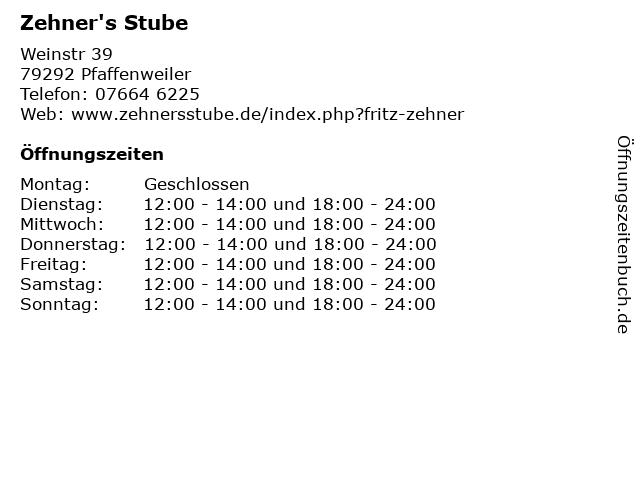 Zehner's Stube in Pfaffenweiler: Adresse und Öffnungszeiten
