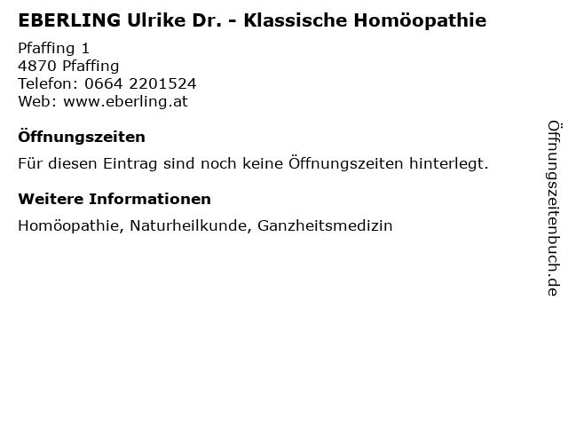 EBERLING Ulrike Dr. - Klassische Homöopathie in Pfaffing: Adresse und Öffnungszeiten
