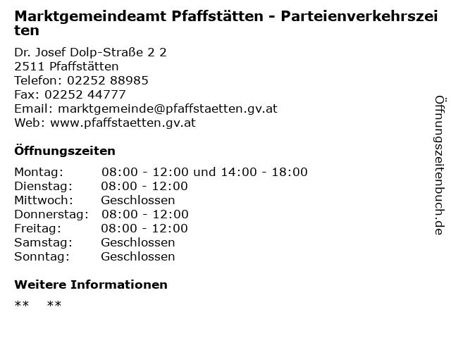 Marktgemeindeamt Pfaffstätten - Parteienverkehrszeiten in Pfaffstätten: Adresse und Öffnungszeiten