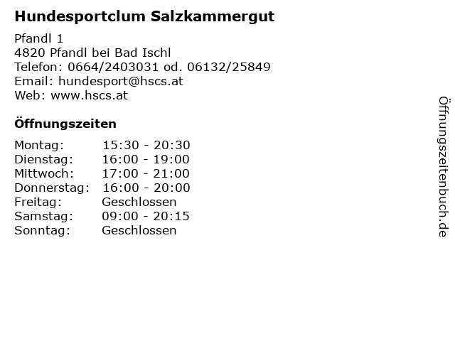 Hundesportclum Salzkammergut in Pfandl bei Bad Ischl: Adresse und Öffnungszeiten