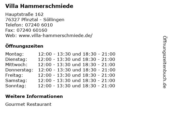 Villa Hammerschmiede in Pfinztal - Söllingen: Adresse und Öffnungszeiten