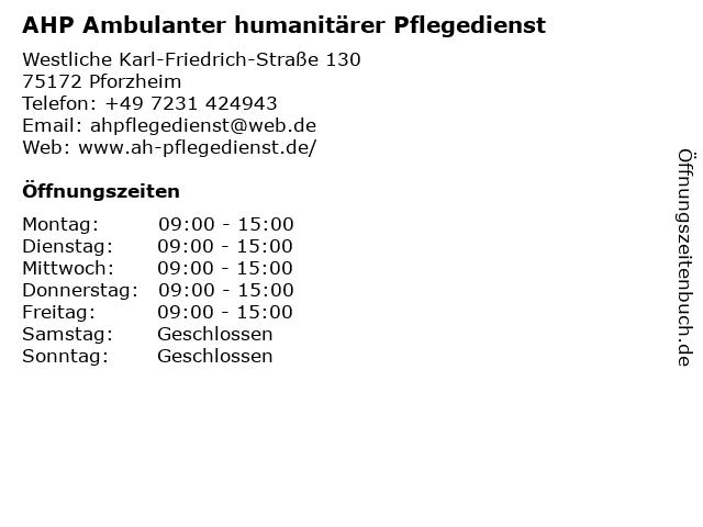 Ambulanter Humanitärer Pflegedienst in Pforzheim: Adresse und Öffnungszeiten