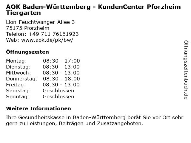 AOK Baden-Württemberg in Pforzheim: Adresse und Öffnungszeiten