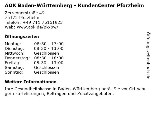 AOK Baden-Württemberg - KundenCenter Pforzheim in Pforzheim: Adresse und Öffnungszeiten