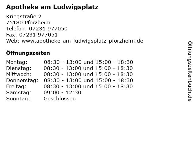 Apotheke am Ludwigsplatz in Pforzheim: Adresse und Öffnungszeiten