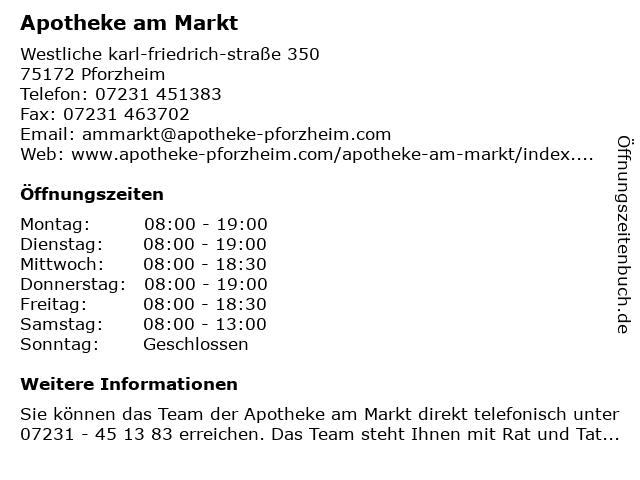 Apotheke am Markt in Pforzheim: Adresse und Öffnungszeiten
