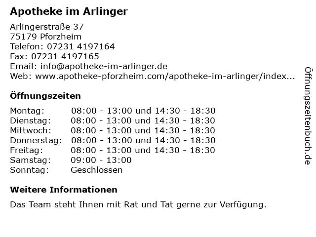 Apotheke im Arlinger in Pforzheim: Adresse und Öffnungszeiten