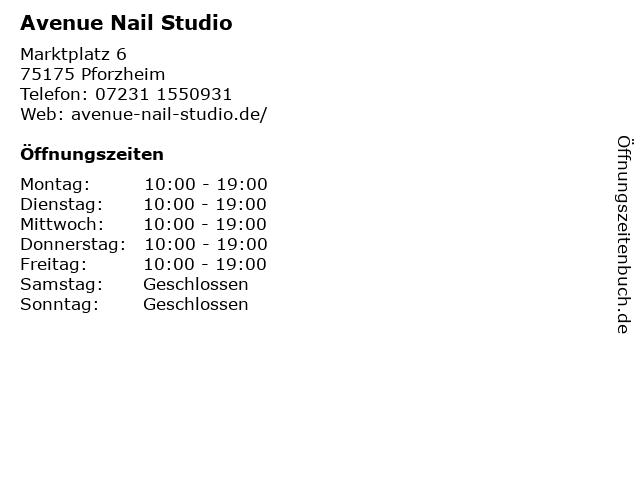 Avenue Nail Studio in Pforzheim: Adresse und Öffnungszeiten