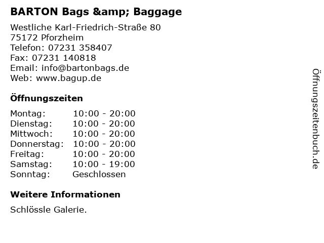 BARTON Bags & Baggage in Pforzheim: Adresse und Öffnungszeiten