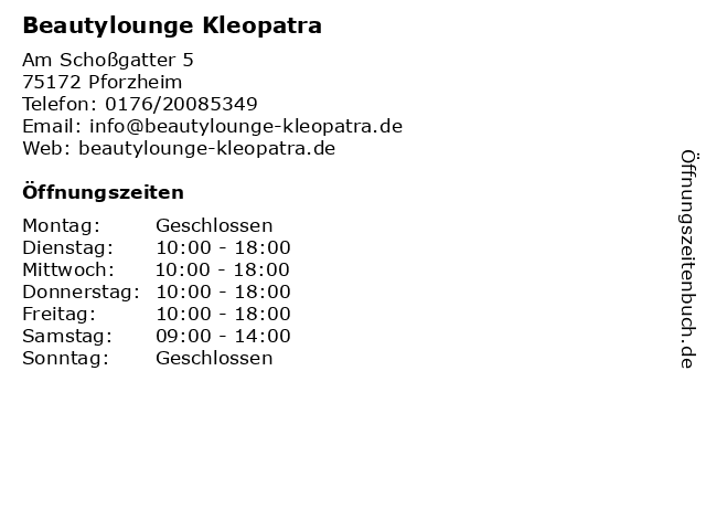 Beautylounge Kleopatra in Pforzheim: Adresse und Öffnungszeiten