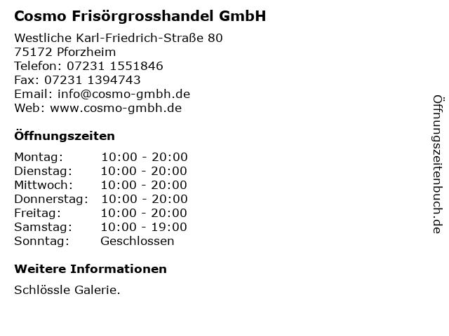 Cosmo Frisörgrosshandel GmbH in Pforzheim: Adresse und Öffnungszeiten
