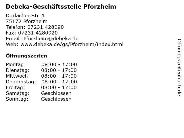 Debeka-Geschäftsstelle Pforzheim in Pforzheim: Adresse und Öffnungszeiten