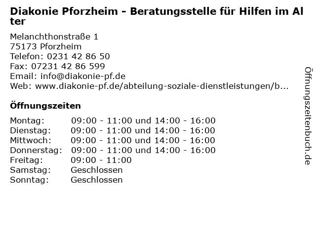 Diakonie Pforzheim - Beratungsstelle für Hilfen im Alter in Pforzheim: Adresse und Öffnungszeiten