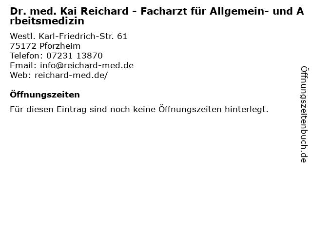 Dr. med. Kai Reichard in Pforzheim: Adresse und Öffnungszeiten