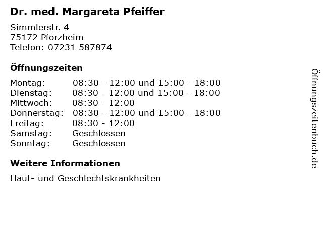 Dr. med. Margareta Pfeiffer in Pforzheim: Adresse und Öffnungszeiten