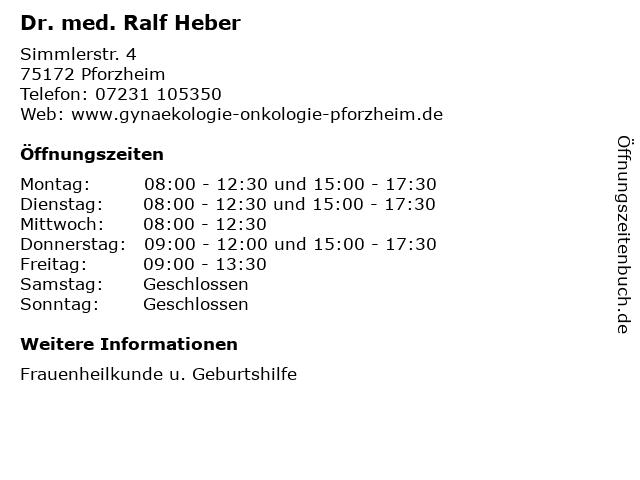 Dr. med. Ralf Heber in Pforzheim: Adresse und Öffnungszeiten