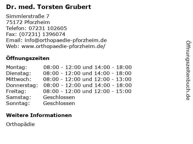 Dr. med. Torsten Grubert in Pforzheim: Adresse und Öffnungszeiten