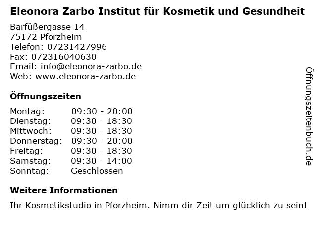 Eleonora Zarbo Institut für Kosmetik und Gesundheit in Pforzheim: Adresse und Öffnungszeiten