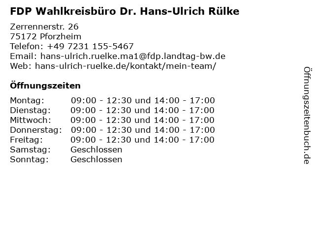 FDP Wahlkreisbüro Dr. Hans-Ulrich Rülke in Pforzheim: Adresse und Öffnungszeiten
