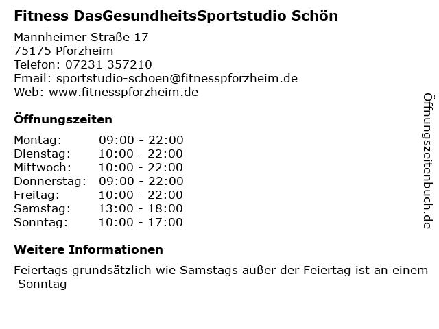 Fitness DasGesundheitsSportstudio Schön in Pforzheim: Adresse und Öffnungszeiten