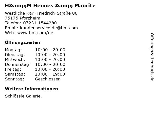 H&M Hennes & Mauritz in Pforzheim: Adresse und Öffnungszeiten