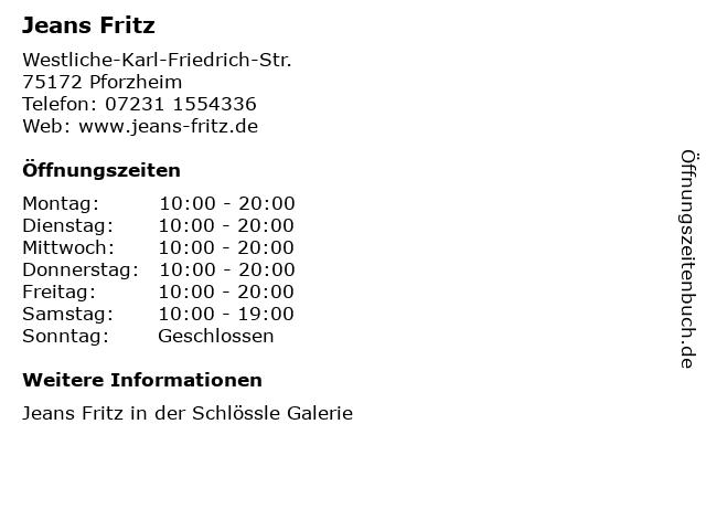 Jeans Fritz in Pforzheim: Adresse und Öffnungszeiten