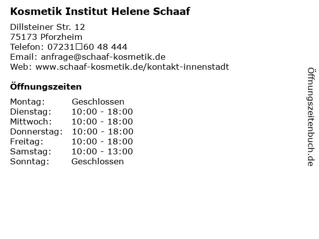 Kosmetik Institut Helene Schaaf in Pforzheim: Adresse und Öffnungszeiten
