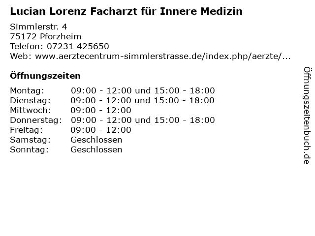Lucian Lorenz Facharzt für Innere Medizin in Pforzheim: Adresse und Öffnungszeiten
