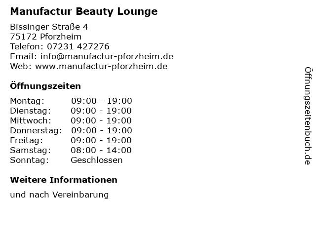 Manufactur Beauty Lounge in Pforzheim: Adresse und Öffnungszeiten