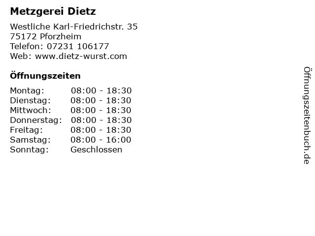 Metzgerei Dietz in Pforzheim: Adresse und Öffnungszeiten