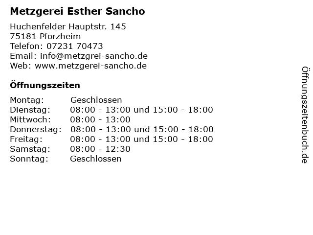 Metzgerei Esther Sancho in Pforzheim: Adresse und Öffnungszeiten