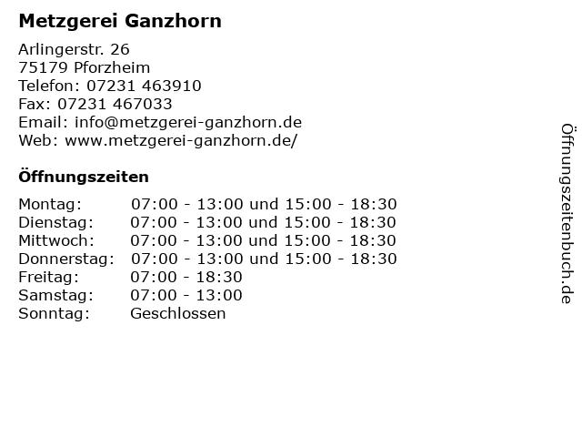 Metzgerei Ganzhorn - Filiale Pforzheim-Arlinger in Pforzheim: Adresse und Öffnungszeiten